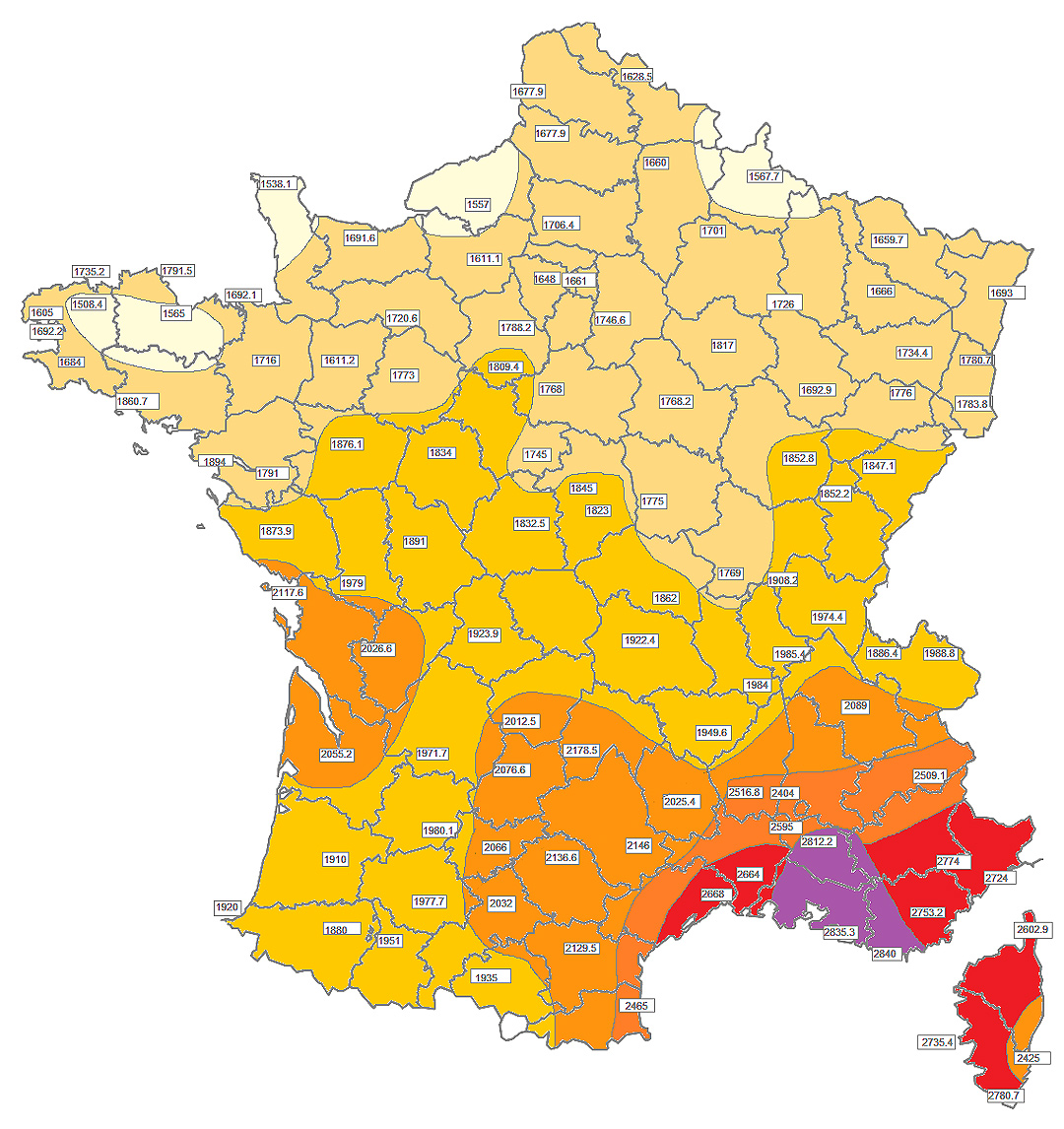 Carte ensoleillement France - Ecoden.fr